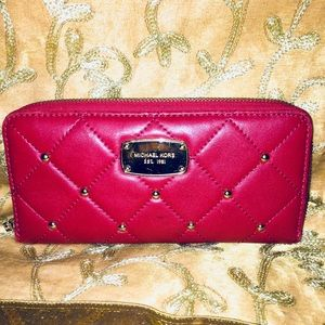 Red quilted Michael KORS wallet